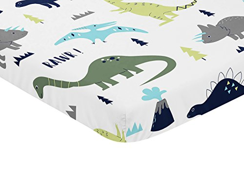 Sweet Jojo Designs Navy Turquoise And Grey Dinosaur Baby